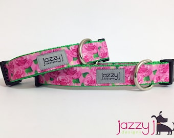 NEW Pink Flowers Dog Collar