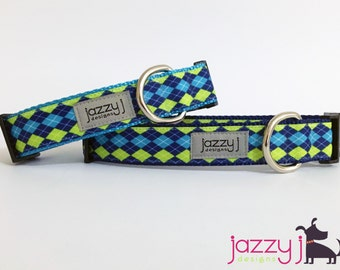 Blue and Lime Green Argyle Plaid Dog Collar