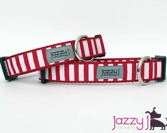 Red and White Striped Dog Collar