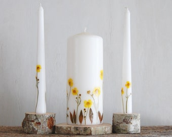Unity Candle Set with Free Express Shipping, Wedding Ceremony Candle Set of 3 Decorated With Yellow Real Pressed Flowers