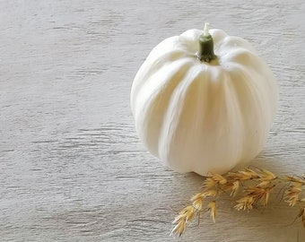 White Pumpkin Candle, Halloween Decor, Harvest Candle, Thanksgiving Table Decoration, Christmas Gift