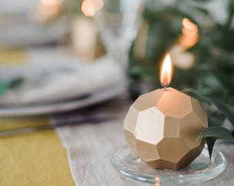 Geometric Candle, Faceted Gold Candle for Modern Home, Gold Modern Wedding Favors, Metallic Home Decor