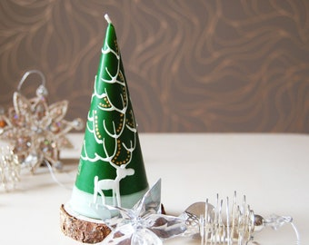 Christmas Candle Hand Painted Green Cone With White Deer, Christmas Decoration, Winter Home Decor, Christmas Gift
