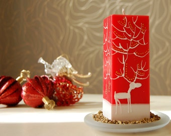 Christmas Pillar Candle Rectangle - Handpainted White Moose on Red or Green Candle - Christmas Gift - Christmas Decor For The Home