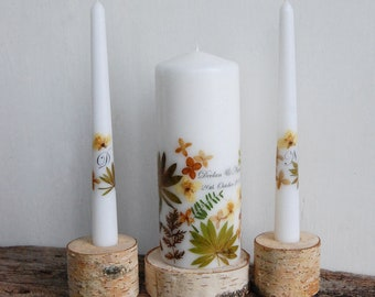 Burnt Orange Unity Candle Set with Free Express Shipping, Wedding Ceremony Candles, Decorated with Real Pressed Flowers in Autumn Colors
