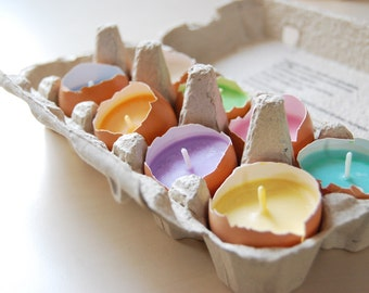 Easter Egg Candles - Real Eggshells Candles - Set Of 10 Vegetable Wax Candles - Easter Table Decor - Eco friendly Home Decor - Easter Gift
