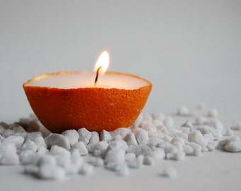 Pure Orange Peel Filled By Cinnamon Scented Vegetable Wax, Scented Candle, Eco Friendly Gift, Hygge Home Decor