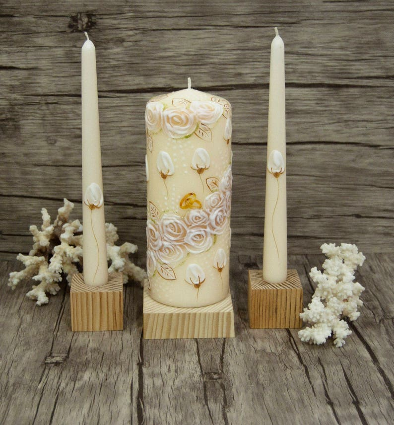Unity Candle Set with Free Express Shipping Handpainted Beige image 0