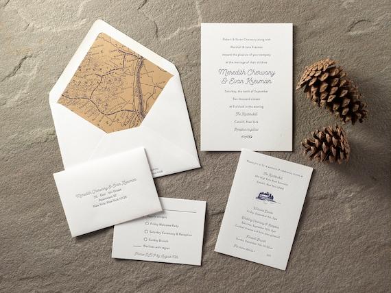 Modern letterpress wedding invitation Catskill Mountain themed | Etsy
