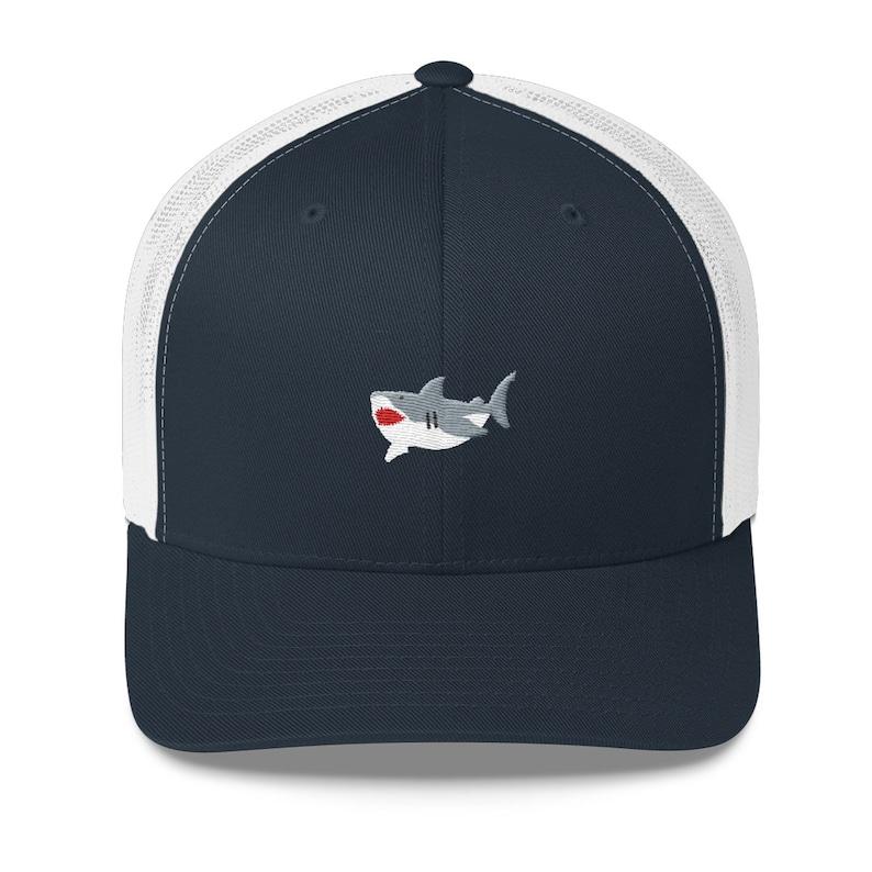 f55be333c Great White Shark Trucker Cap (Navy/White) - Embroidered hat, Ocean  apparel, beach gear, ball cap