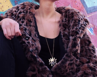 Long Eye Necklace with Ball Chain