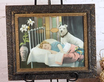 Framed Lithograph- No. 27 On Guard- Pitbull Boxer Terrior Dog and young girl child- Antique Carved Wood Frame- Large Size- 22 by 26 inches-
