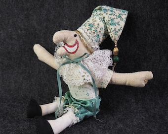 b795628c ORIGINAL Christine Shively Vintage Jester Doll- Hand Made- Joker Fool Clown-  Signed by Artist- 1980's- Green White- Cloth- Stuffed