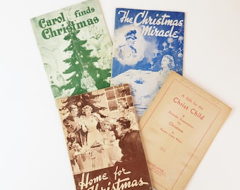vintage christmas plays set of four 1928 1950s church program recital service adults and children post war era world war 1 and 2 - Christmas Plays For Adults
