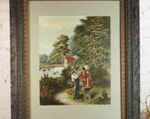 Framed Lithograph- No. 1808 copyright 1905 by McLoughlin Bros. NY- Electro-Grain Gravure- Boy and Girl- Antique Carved Wood Frame- Large
