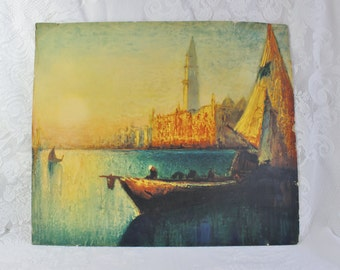 Antique Print- Vintage lithograph- Impressionist Sailboat Canal Venice Sunset Print- 14 by 12 inches