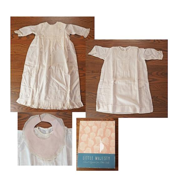 463423c5539 Antique Baby Layette Long Gown Short Gown Bib Box
