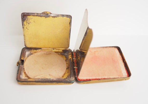 Empire State Building Vintage Powder Rouge Compact New York City Souvenir 1940\u2019s Retro Color Mid-Century Small Size Two Compartments