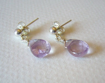 Stacy - Amethyst and Sterling Silver Drop Earrings