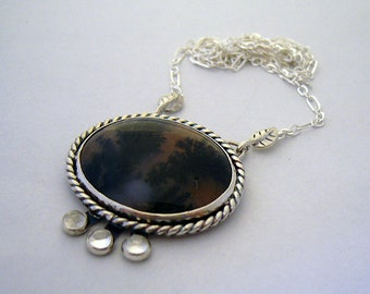 Winter Woods - sterling silver and black moss agate necklace