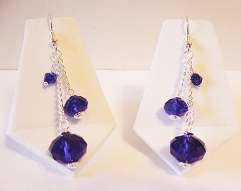 Midnight Blue - Cobalt and Silver Dangle Earrings