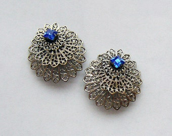 Alhambra - Silver Filigree Vintage Clip Earrings
