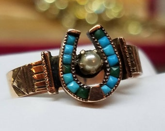 Victorian 14K Yellow Gold Turquoise Pearl Horseshoe Ring