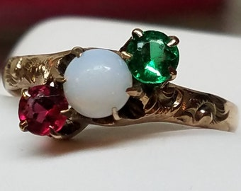 Victorian 14K Yellow Gold Opal Paste Ring