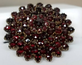 Antique Bohemian Garnet Domed Pin Brooch