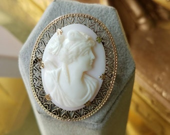 Victorian 10K Yellow Gold Filigree Coral Cameo