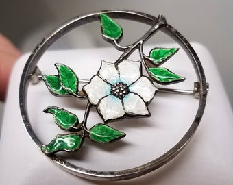 Art Deco Sterling Enamel Flower Brooch Pin