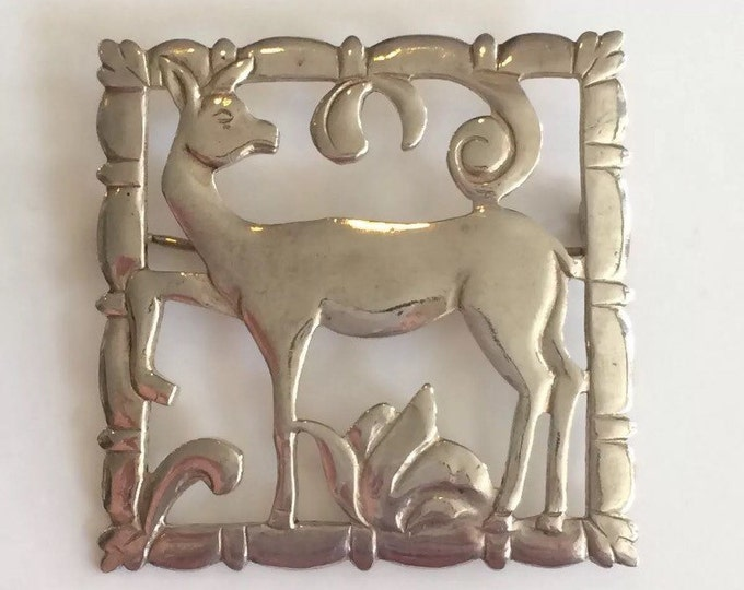 Vintage BRKS Sterling Silver Doe Deer Brooch Pin