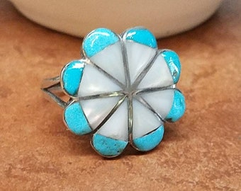Vintage Sterling Zuni Inlaid Mother of Pearl Turquoise Ring