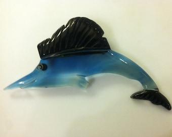 Deco c.1930s Lucite Bakelite Marlin Pin Brooch