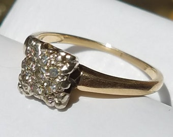 Vintage 14K Yellow and White Gold Diamond Cluster Ring