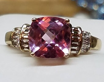 Vintage 10K Yellow Gold Checkerboard Pink Sapphire Diamond Ring