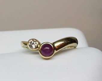 Vintage 14K Yellow Gold Ruby Diamond Ring