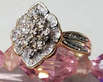 1980s Era 10K Yellow Gold Diamond Ring