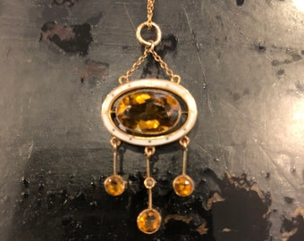 RESERVED for KJ:  Edwardian 10k 14k Citrine Enamel Drop Pendant Lavalier