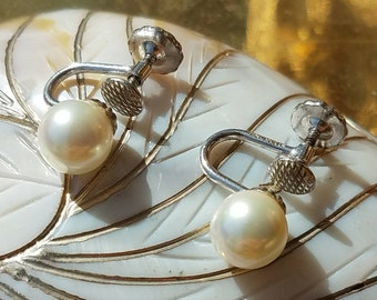 Vintage 14K White Gold Cultured Pearl Screwback Earrings