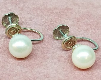 Vintage 14K White Gold Pearl Earrings