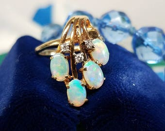 Vintage 14K Yellow Gold Opal Diamond Ring