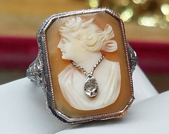 Art Deco 14K White Gold Cameo Habille Ring