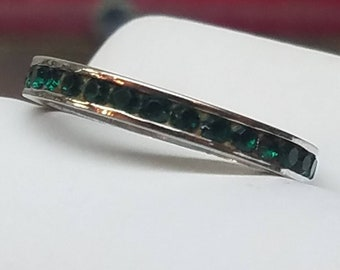 Art Deco Sterling Paste Eternity Band