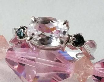 14K White Gold Blue Diamond Topaz Ring