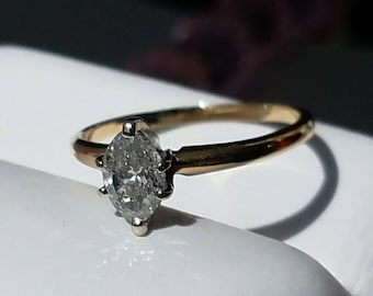 14K Yellow Gold 1/2 Carat Marquise Diamond Ring