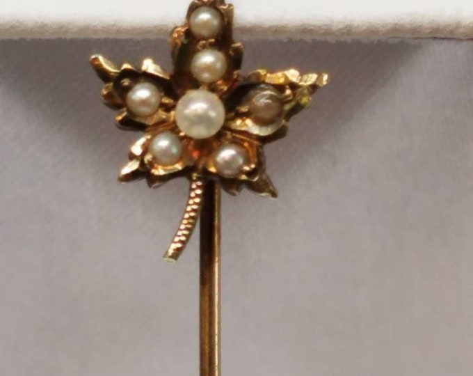 Victorian 14K Yellow Gold Seedpearl Maple Leaf Stickpin