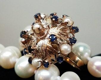 1950s Era 14K Yellow Gold Thai Princess Pearl Sapphire Bombe Ring