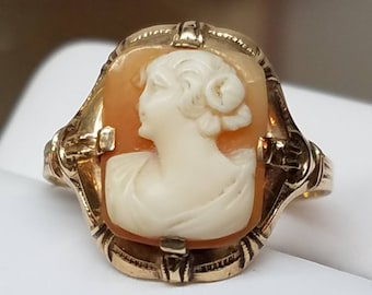 Art Deco 10K Yellow Gold Cameo Ring