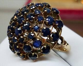 Vintage 14K Yellow Gold Sapphire Bombe KAPOW Ring